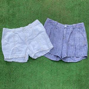 Free People White + Blue Linen Boho Shorts Bundle